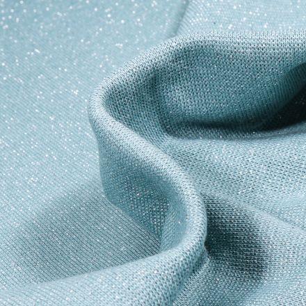 Tissu Bord côte uni pailleté  Bleu ciel