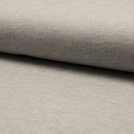 Tissu Jersey Piqué de coton spécial Polo Gris clair chiné - Par 10 cm