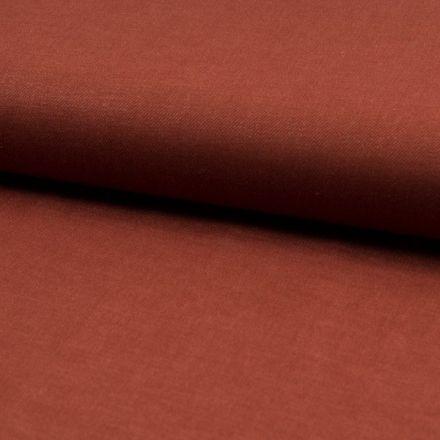 Tissu Viscose Lin twill lycra Terracotta - Par 10 cm