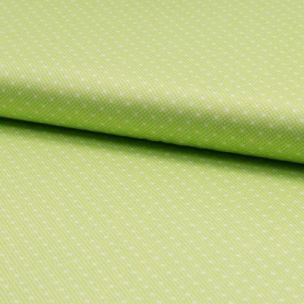 Popeline de coton satiné Romantico Petits pois blanc sur fond Vert anis - Par 10 cm