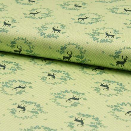 Popeline de coton satiné Romantico Cerfs noirs et de couronnes de fleurs vertes sur fond Vert anis - Par 10 cm
