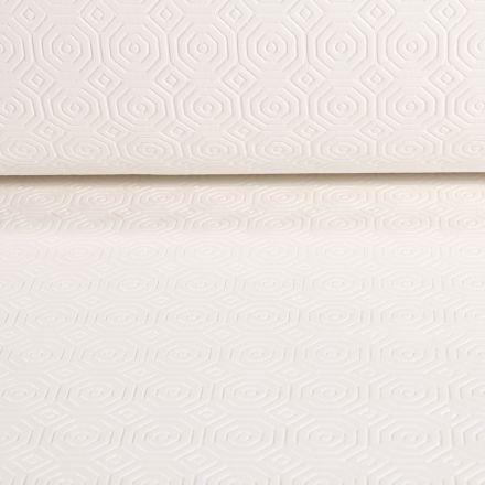Tissu Protège table Bulgomme hexagone sur fond Blanc cassé - Par 10 cm