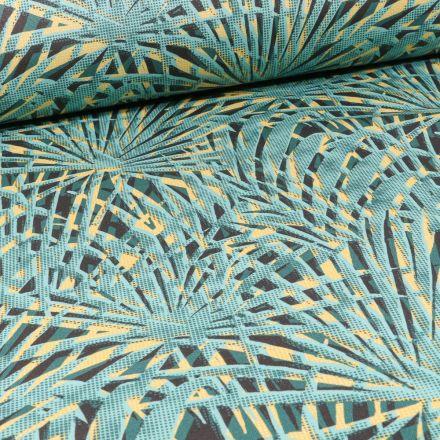 Tissu Toile Transat Dralon Feuilles de palmiers colorées sur fond Vert