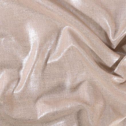 Tissu Toile de Lin Flammée Métallisée Argent - Par 10 cm