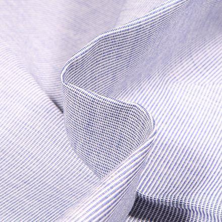 Tissu Toile extérieure Dralon Grande largeur Fines rayures bleu sur fond Blanc