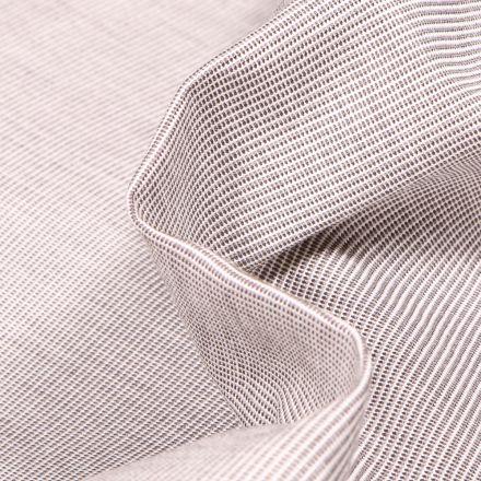 Tissu Toile extérieure Dralon Grande largeur Fines rayures beige sur fond Blanc