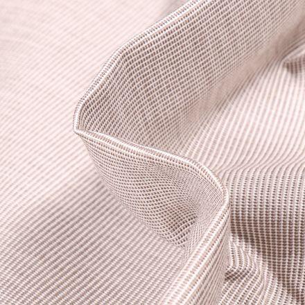 Tissu Toile extérieure Dralon Grande largeur Fines rayures taupe sur fond Blanc
