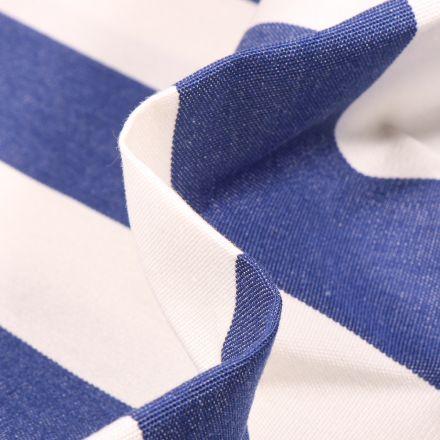 Tissu Toile extérieure Dralon Grande largeur Rayures sur fond Bleu