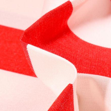 Tissu Toile extérieure Dralon Grande largeur Rayures sur fond Rouge
