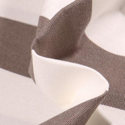Tissu Toile extérieure Dralon Grande largeur Rayures sur fond Taupe