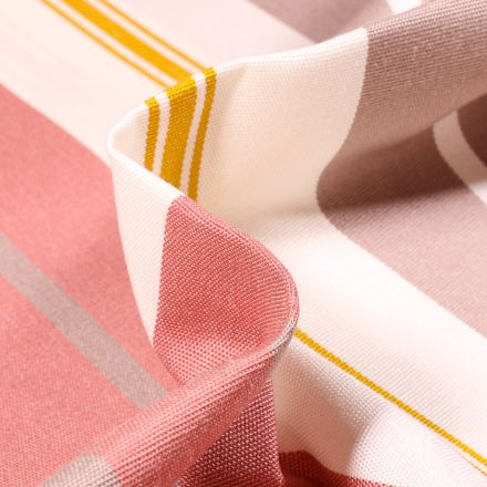 Tissu Toile extérieure Dralon Grande largeur Rayures Bonifacio sur fond Rose