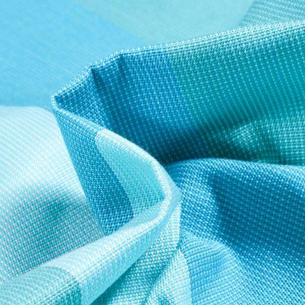 Tissu Toile extérieure Dralon Grande largeur Rayures Boston sur fond Bleu turquoise