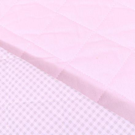 Tissu Piqué de coton Baby Matelassé réversible Rose pastel - Par 10 cm