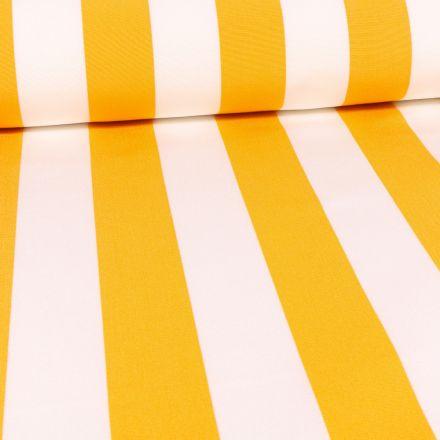 Tissu Toile Transat Rayures jaunes sur fond Blanc