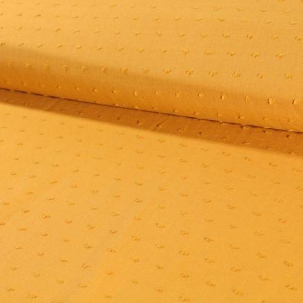 Tissu Plumetis Coton Moutarde - Par 10 cm
