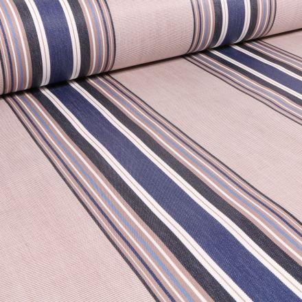 Tissu Toile extérieure Dralon Rayures fines et épaisses sur fond Bleu