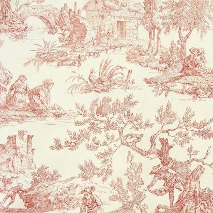 Tissu Toile de Jouy Rouge en 280 cm de largeur - Par 10 cm
