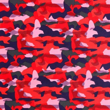 Tissu Lycra Maillot de bain Camouflage Bleu marine, rouge, kaki et rose - Par 10 cm