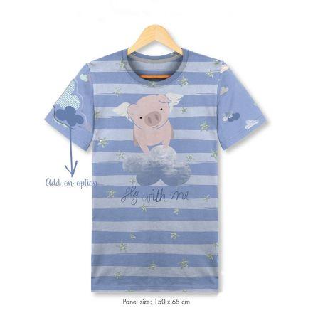 Tissu Jersey Coton Panneau pour T-shirt Fly with me sur fond Bleu ciel