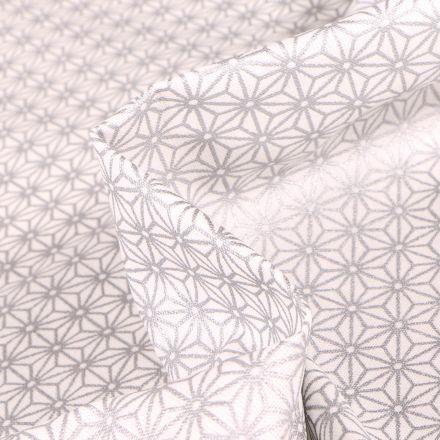 Tissu Coton enduit Saki Argent sur fond Blanc