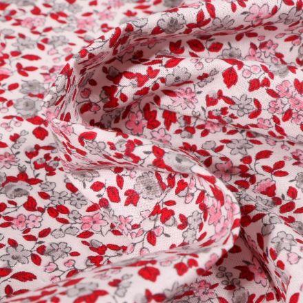Tissu Coton imprimé Arty Léonie rose et rouge sur fond Blanc - Par 10 cm