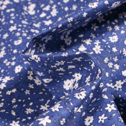 Tissu Coton imprimé Arty Léonie blanc sur fond Bleu nuit - Par 10 cm