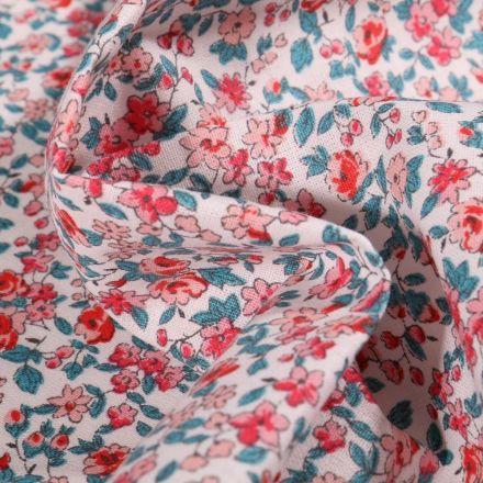 Tissu Coton imprimé Arty Léonie rose et bleu pétrole sur fond Blanc - Par 10 cm