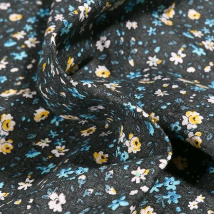 Tissu Coton imprimé Arty Léonie jaune et bleu sur fond Noir - Par 10 cm