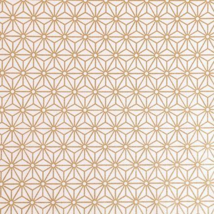 Tissu Coton Imprimé Arty Tokyo Doré sur fond Blanc - Par 10 cm
