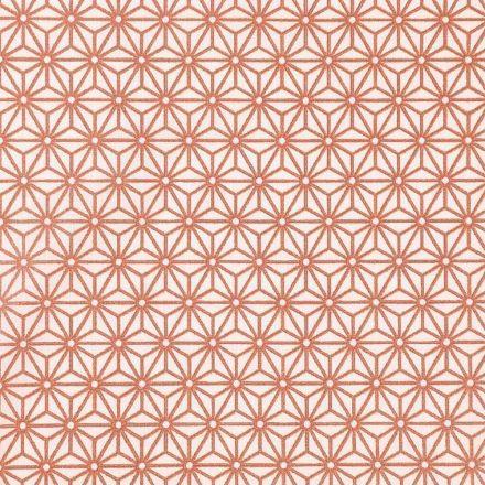 Tissu Coton Imprimé Arty Tokyo Cuivré sur fond Blanc - Par 10 cm