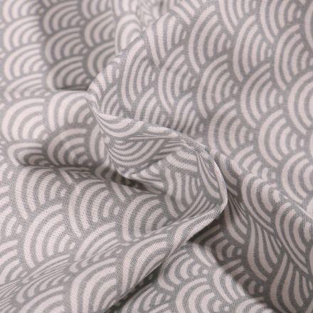 Tissu Coton imprimé Arty Sushis gris sur fond Blanc - Par 10 cm
