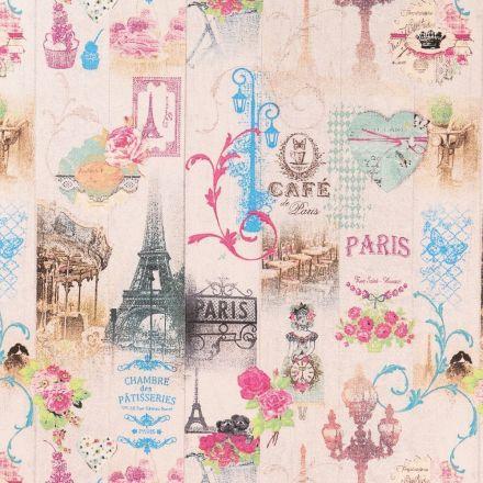 Tissu Coton Imprimé Arty Paris Gourmand sur fond Ecru - Par 10 cm