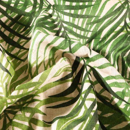 Tissu Lin d'ameublement Feuillages vertes sur fond Naturel - Par 10 cm