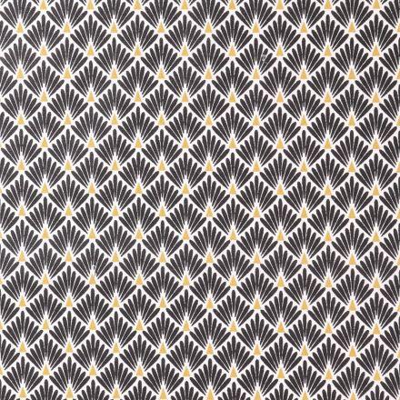 Tissu Coton Imprimé Arty Ecailles Noires sur fond Blanc - Par 10 cm