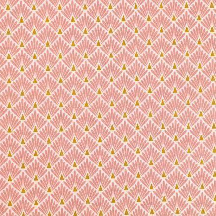 Tissu Coton Imprimé Arty Ecailles Roses sur fond Blanc - Par 10 cm