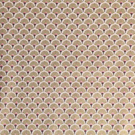 Tissu Coton Imprimé Arty Eventails Dorés - Par 10 cm