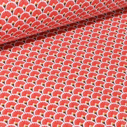 Tissu Coton imprimé  Arty Eventails sur fond Rouge - Par 10 cm