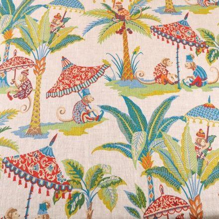 Tissu Lin d'ameublement Exotic sur fond Naturel - Par 10 cm