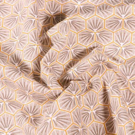 Tissu Coton imprimé Arty Riad sur fond Gris clair - Par 10 cm