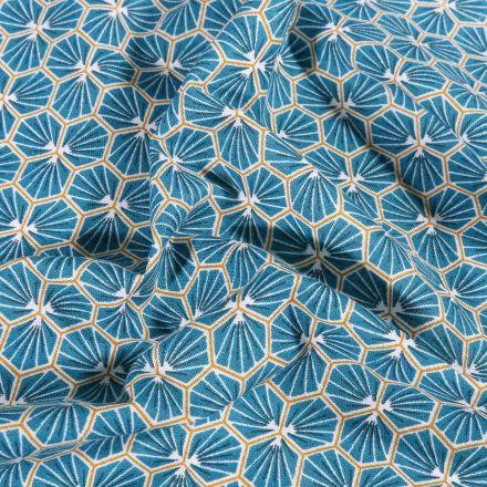 Tissu Coton imprimé Arty Riad sur fond Bleu pétrole - Par 10 cm
