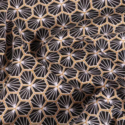 Tissu Coton imprimé Arty Riad sur fond Noir - Par 10 cm