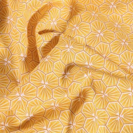 Tissu Coton imprimé Arty Riad sur fond Jaune - Par 10 cm