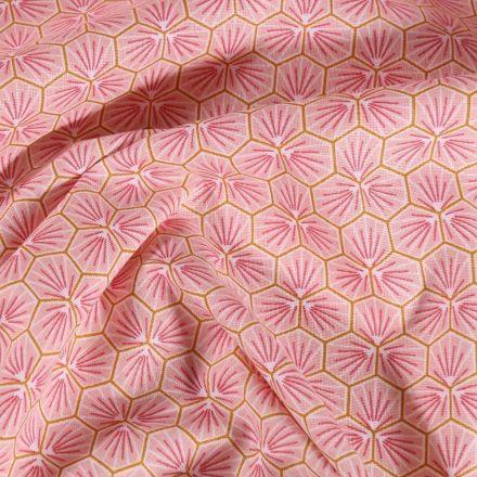 Tissu Coton imprimé Arty Riad sur fond Rose - Par 10 cm