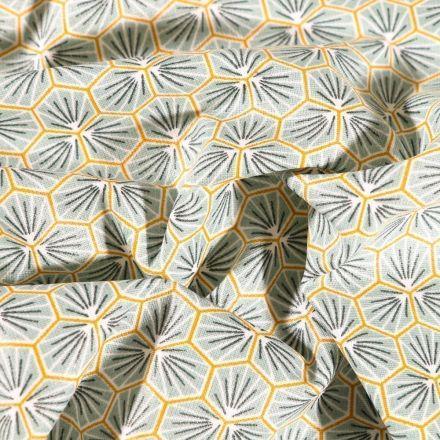 Tissu Coton enduit Riad sur fond Vert amande - Par 10 cm