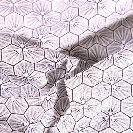 Tissu Coton enduit Riad sur fond Argent - Par 10 cm