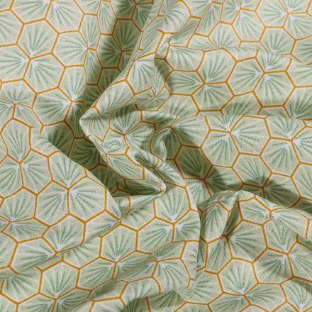 Tissu Coton enduit Riad sur fond Vert d'eau - Par 10 cm
