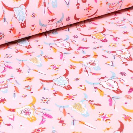 Tissu Coton imprimé Arty Arizona sur fond Rose