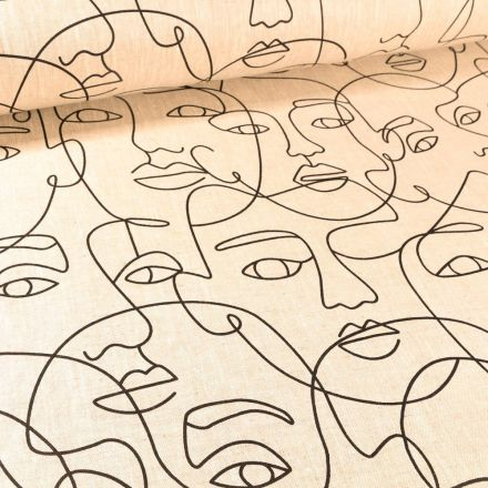 Tissu Lin d'ameublement Visages stylisés sur fond Naturel - Par 10 cm