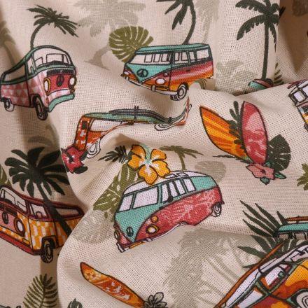 Tissu Coton imprimé Arty Combi Hawaï sur fond Beige - Par 10 cm