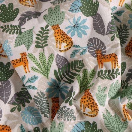 Tissu Coton imprimé Arty Guépards et feuilles grises et vertes sur fond Blanc - Par 10 cm